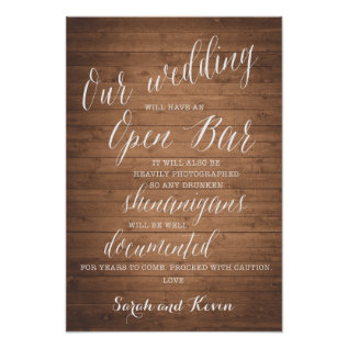 Funny Open Bar Wedding Sign | Personalised Names at Zazzle