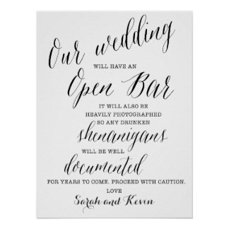 Funny Open Bar Wedding sign | Personalised names