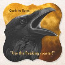 Funny Orange Black Poe Raven Crow Halloween Party Paper Coaster