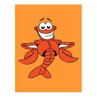 Funny ORANGE CARTOON LOBSTER smiling happy fun Postcard