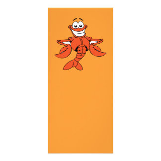 Funny ORANGE CARTOON LOBSTER smiling happy fun Rack Card