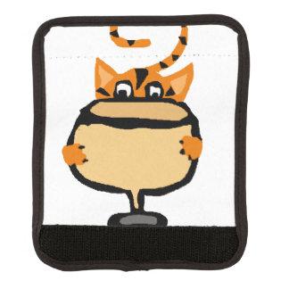 funny Orange Cat Drinking White Wine Luggage Handle Wrap