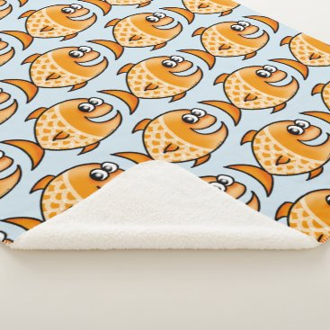 Beach Themed funny orange fish sherpa blanket