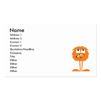 funny orange furry monster business cards
