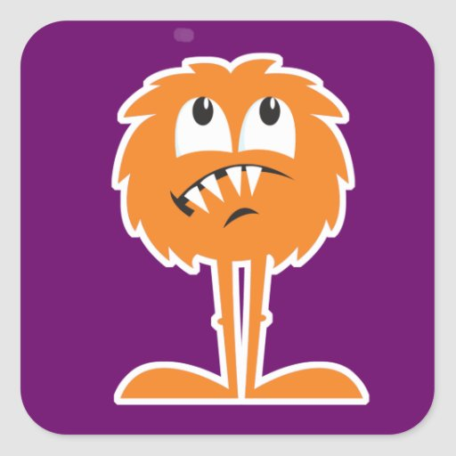 funny orange furry monster round sticker
