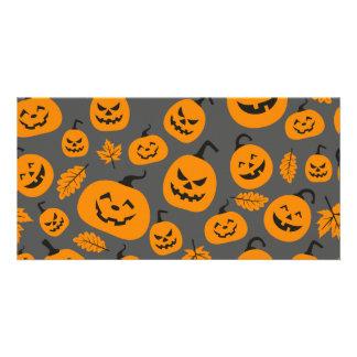 Funny Orange Halloween Pumpkins Pattern Card
