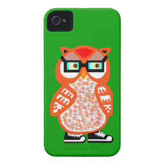 Funny Orange Hipster Owl Green iPhone 4 Case