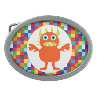 Funny Orange Monster Creature Bright Color Blocks Oval Belt Buckle