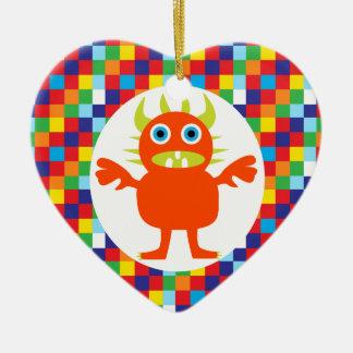 Funny Orange Monster Creature Bright Color Blocks Ceramic Ornament
