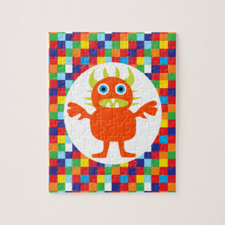 Funny Orange Monster Creature Bright Color Blocks Jigsaw Puzzle