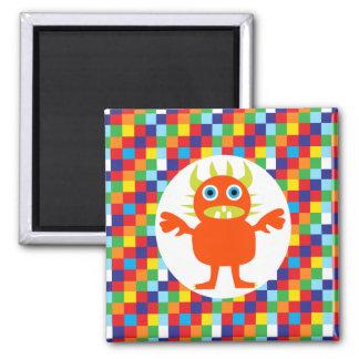 Funny Orange Monster Creature Bright Color Blocks Magnet