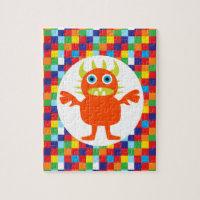 Funny Orange Monster Creature Bright Color Blocks Puzzles