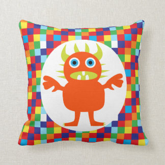 Funny Orange Monster Creature Bright Color Blocks Throw Pillow