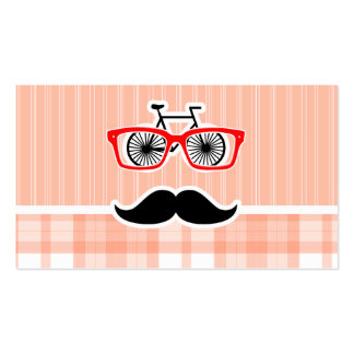 Funny Orange Plaid Mustache Business Card Template