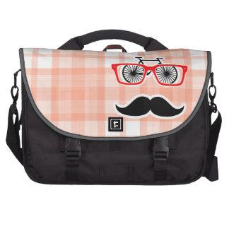 Funny Orange Plaid Mustache Commuter Bags