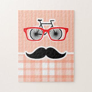 Funny Orange Plaid Mustache Jigsaw Puzzles