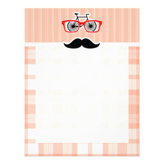 Funny Orange Plaid Mustache Letterhead Design