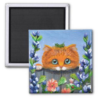 Funny Orange Tabby Cat Flowers Creationarts Magnet