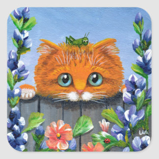 Funny Orange Tabby Cat Grasshopper Creationarts Square Sticker