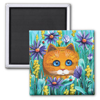 Funny Orange Tabby Cat Mouse Flowers Creationarts Magnet