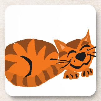 Funny Orange Tiger Cat Drink Coaster