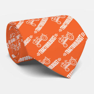 Funny Orange Tractor Tie