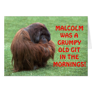 Funny Orangutan Grumpy Old Git Greeting Card