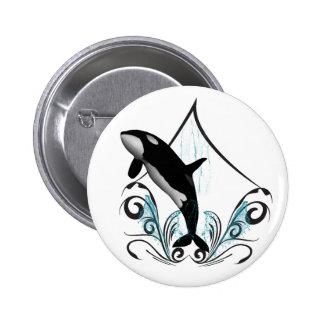Funny orca pinback button
