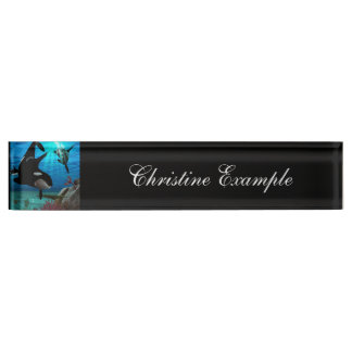 Funny orcas name plate