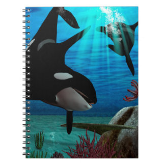 Funny orcas spiral note book