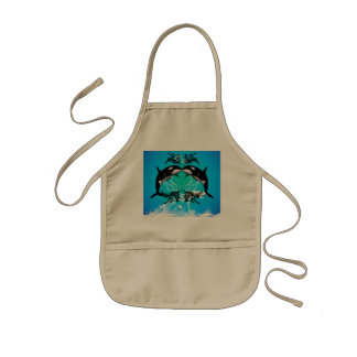 Funny orcas with water splash kids' apron