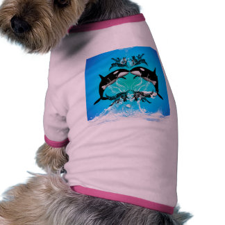 Funny orcas with water splash doggie tee