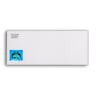 Funny orcas with water splash envelope