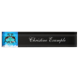 Funny orcas with water splash desk nameplate