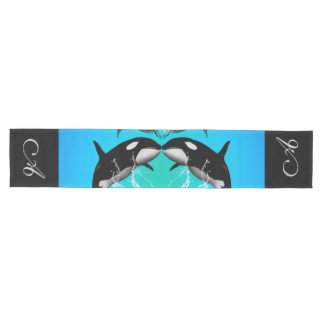 Funny orcas with water splash medium table runner