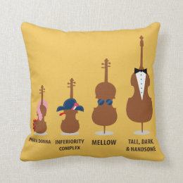 Funny Orchestra Strings Instruments Throw Pillow