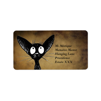 Funny Oriental Black Cat Labels