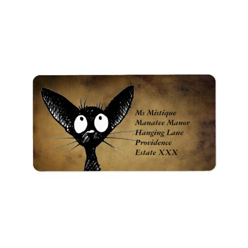 Funny Oriental Black Cat Labels Personalized Address Label