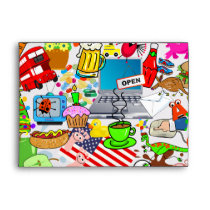 Funny Original & Cute Cartoon Montage Illustration Envelope