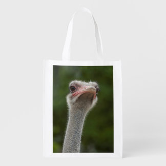 Funny Ostrich Portrait showing the goofy side Grocery Bag