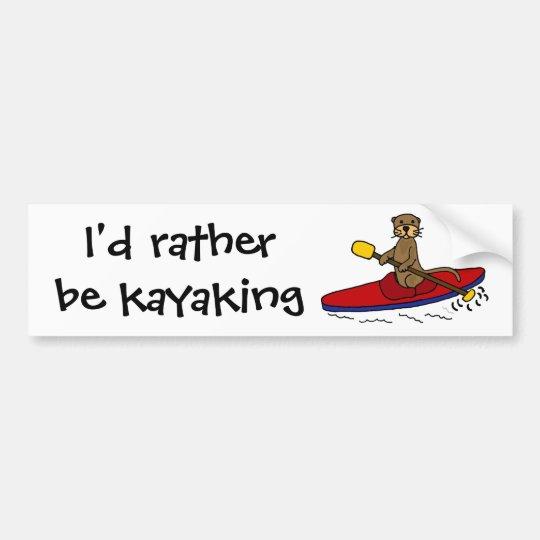 Funny otter kayaking bumper sticker