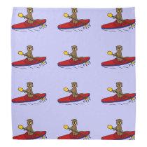Funny Otter Kayaking Cartoon Bandana