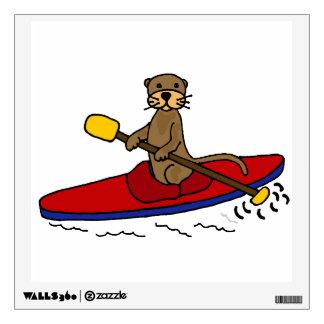 Funny Otter Kayaking Cartoon Wall Sticker