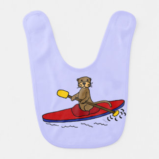 Funny Otter Kayaking Cartoon Bibs