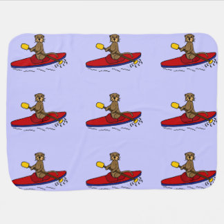Funny Otter Kayaking Cartoon Receiving Blankets