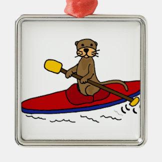 Funny Otter Kayaking Christmas Ornaments