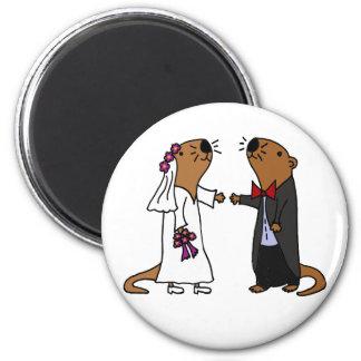 Funny Otter Wedding Cartoon 2 Inch Round Magnet