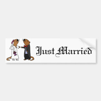 Funny Otter Wedding Cartoon Bumper Sticker