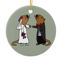 Funny Otter Wedding Cartoon Ceramic Ornament