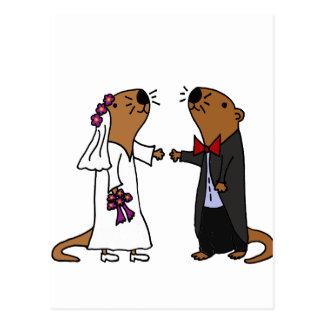 Funny Otter Wedding Cartoon Postcard